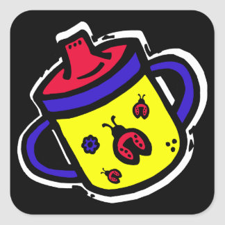 ladybug sippy cup square sticker