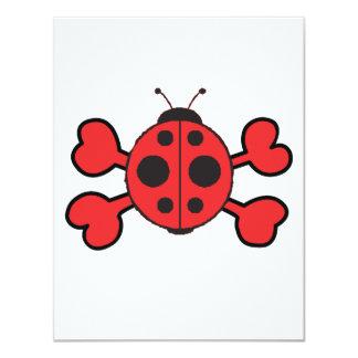 ladybug Skull red Crossbones 4.25x5.5 Paper Invitation Card