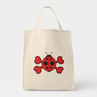 ladybug Skull red Crossbones Grocery Tote Bag