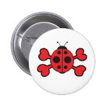 ladybug Skull red Crossbones Buttons