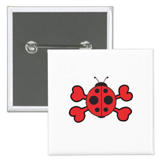 ladybug Skull red Crossbones Pinback Button
