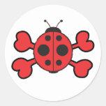 ladybug Skull red Crossbones Round Sticker