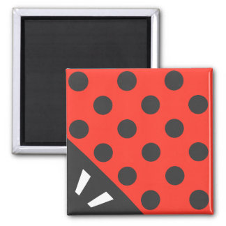 Ladybug Square Black and Red Magnet