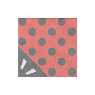 Ladybug Square Black and Red Stone Magnet