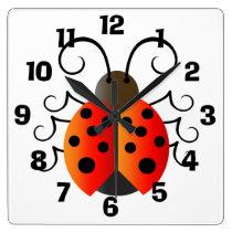 Ladybug Square Wall Clock