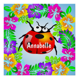 ladybug standing on colorful hibiscus flower poster