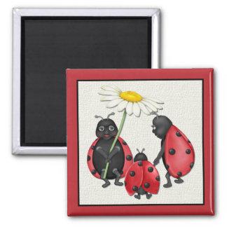 Ladybug Stroll 2 Inch Square Magnet