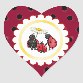 Ladybug Stroll Heart Sticker