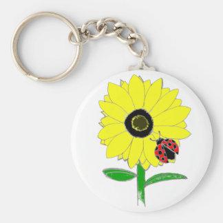 LadyBug & Sunflower Basic Round Button Keychain