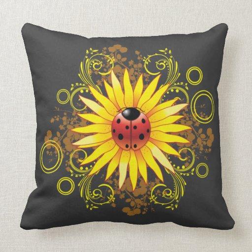Throw Pillows With Sunflower Design : Ladybug Sunflower Design Throw Pillows Zazzle