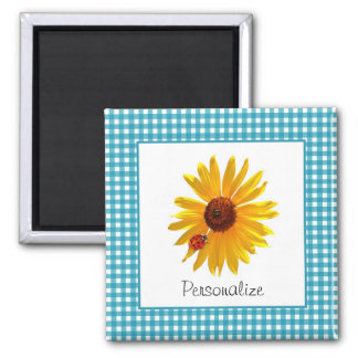 Ladybug Sunflower Turquoise Gingham With Name 2 Inch Square Magnet
