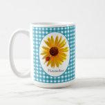 Ladybug Sunflower Turquoise Gingham With Name Classic White Coffee Mug