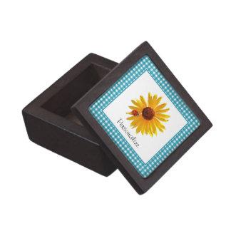 Ladybug Sunflower Turquoise Gingham With Name Keepsake Box