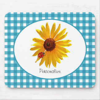 Ladybug Sunflower Turquoise Gingham With Name Mouse Pad