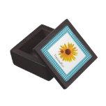 Ladybug Sunflower Turquoise Gingham With Name Premium Jewelry Box