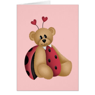 Ladybug Teddy Bear Card
