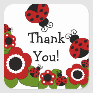 Ladybug Thank You Birthday Square Sticker!