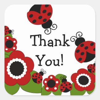 Ladybug Thank You Birthday Square Sticker! Square Sticker