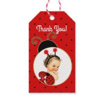 Ladybug Theme Baby Girl Red & Black Dots Gift Tags