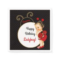 Ladybug Theme Baby Girl Red & Black Dots Napkin