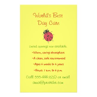 Ladybug theme child care flyer