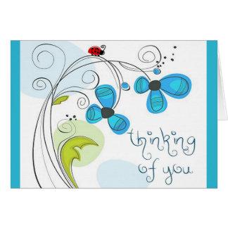 """ladybug """"thinking of you"""" note card"""