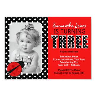 Ladybug Third Birthday Party 4.5x6.25 Paper Invitation Card