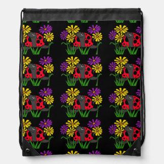 Ladybug Turtle and Daisies Folk Art Backpack