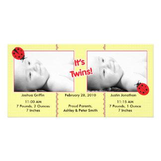 Ladybug Twins Birth Announcement Custom Photo Card