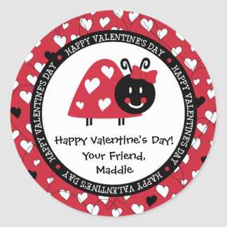 Ladybug Valentine Day Hearts Party Favor Classic Round Sticker