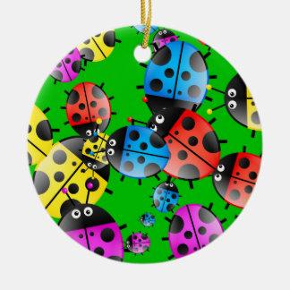 Ladybug Wallpaper Ceramic Ornament