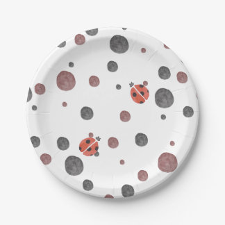 Ladybug Watercolor Dots Paper Plate