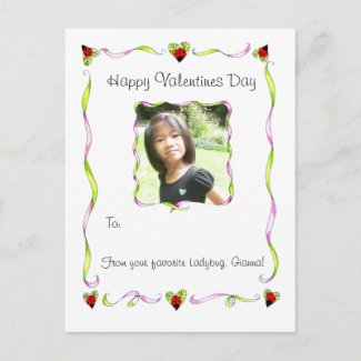 Ladybug wishes Valentines postcard postcard