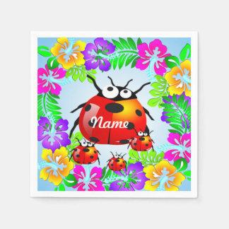 ladybug with babies on colorful hibiscus flowers napkin