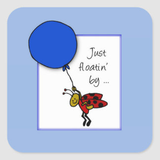 Ladybug With Blue Balloon, Thinking of You Square Sticker