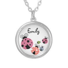 Ladybug With Custom Name Or Monogram Silver Plated Necklace at Zazzle
