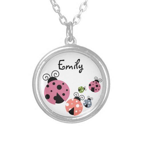 Ladybug with Custom Name or Monogram Silver Plated Necklace