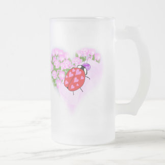 Ladybug with Hearts Frosted Glass Beer Mug