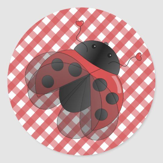 Ladybug with Opern Wings Classic Round Sticker