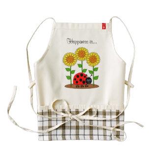 Ladybug with Sunflower Garden Happiness is Zazzle HEART Apron