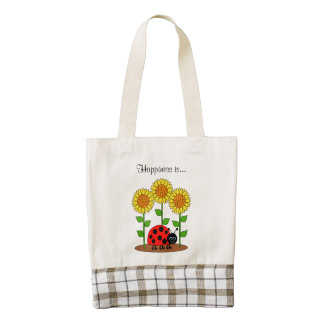 Ladybug with Sunflower Garden Happiness is Zazzle HEART Tote Bag