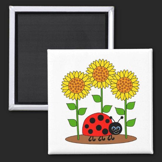 Ladybug with Sunflowers Magnet