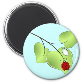 Ladybug with three leaves and a drop 2 inch round magnet