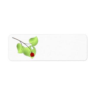 Ladybug with three leaves and a drop custom return address label