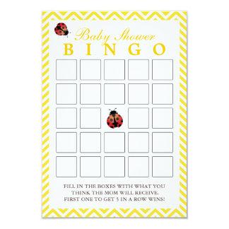 Ladybug Yellow Chevron Baby Shower Bingo Cards