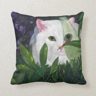 Ladybugs and Cat Throw Pillow
