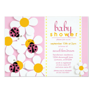 """Ladybugs and Daisies Baby Shower Invitations 5"""" X 7"""" Invitation Card"""