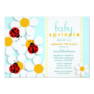 Ladybugs and Daisies Baby Sprinkle Invitations