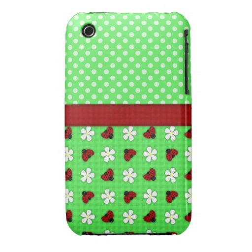 Ladybugs and Daisies iPhone 3 Case-Mate Cases