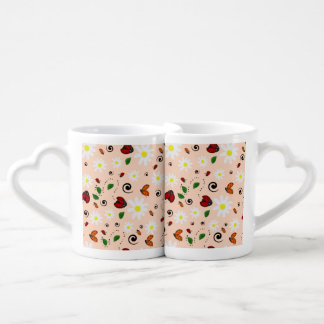 Ladybugs and Daisies in Peach Coffee Mug Set